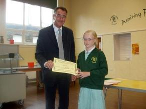 Fay Wilcox receives her maths prize