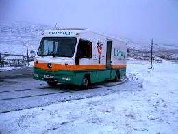 The mobile library out and about in the snow this winter