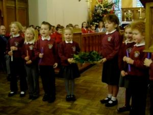 Rushen School pupils in church