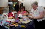 Members of the IOM Embroiderers Guild demonstrate embroidery
