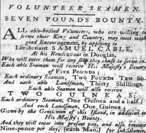 Bounty for Volunteer Seamen in Nelson's Navy