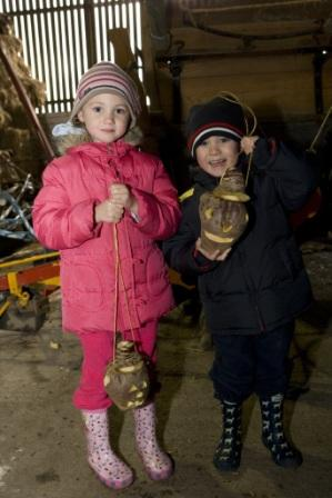 Young visitors with their turnip lanterns