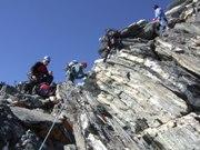 Trekkers climbing at 20,000 feet, Nepal 2007.
