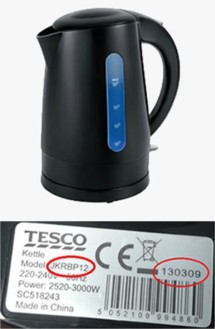 Safety Notice Tesco Kettle