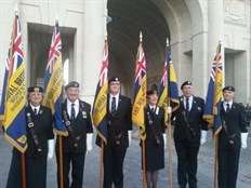 Manx Standards on parade at the Menin Gate, Ypres