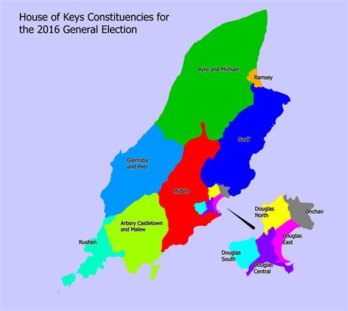 Isle Of Man Government Constituency Map - Isle of man map