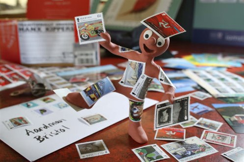 Aardman covered in stamps