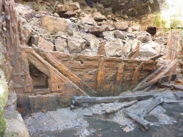 The two-hundred year old dock gate recently uncovered at the Nautical Museum