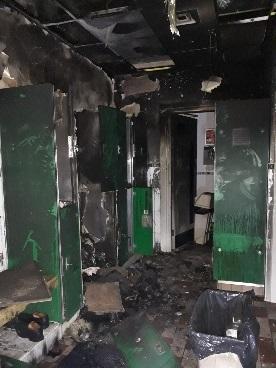 Damage to men's changing room