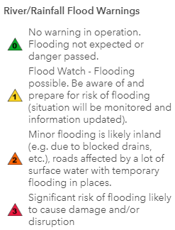 River Flooding Warnings Key - 0 No warning in operation. Flooding not expected or danger passed; 1 Flood Watch - Flooding possible. Be aware of and prepare for risk of flooding (situation will be monitored and information updated); 2 Minor flooding is likely inland (e.g. due to blocked drains, etc.) or waves are likely to break over exposed coastal roads with debris and temporary flooding; 3 Significant risk of flooding likely to cause damage and/or disruption