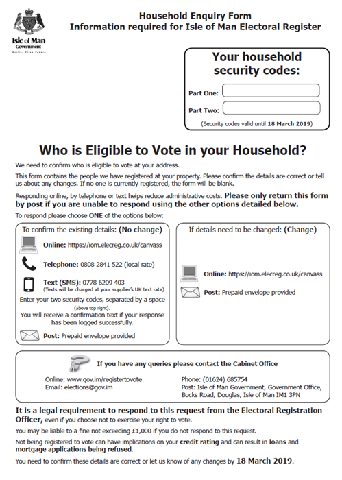 Household Enquiry Form sample