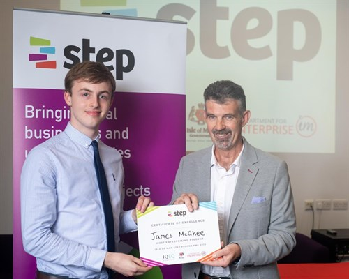 Step Student with Minister for Enterprise Laurance Skelly