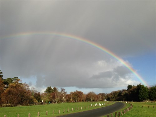 Sulby Claddagh campsite with rainbow
