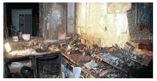 Kitchen devastated by fire